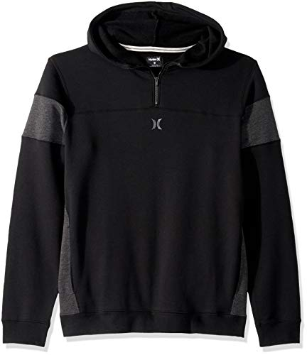 Zip Hoody Hurley - Hurley Men's Surf Check Half Zip Fleece Hoodie, Black Heather, S