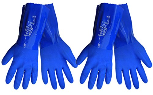 2 Pack FrogWear 8660 Premium PVC Triple Dipped super flexible 12'' Chemical Resistant Gloves Sizes S-XL (Medium)