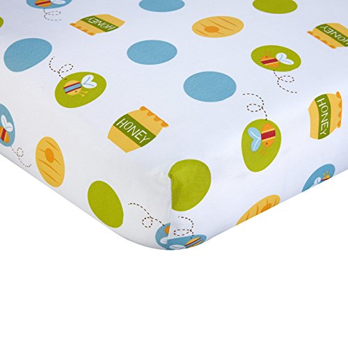 Cotton Winnie The Pooh Sheets (LO Beautiful White Yellow Blue Winnie the Pooh Fitted Crib Sheet, Disney Themed Nursery Bedding, Infant Child Animal Bear Bumble Bee Honey Polka Dots Pattern Cute Adorable, Cotton)