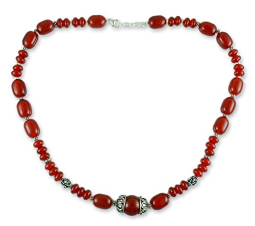 NOVICA Carnelian .925 Sterling Silver Beaded Necklace 'Ardent' by NOVICA