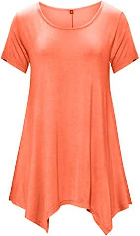 DB MOON Womens Tunic Tops Short Sleeve T Shirts Dress ( S-XXXL )
