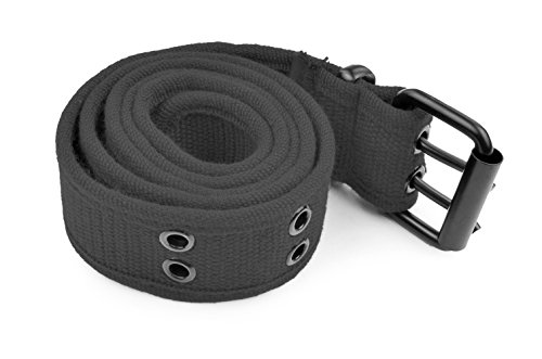 Belle Donne - Web Belt Double Grommet Adjustable Canvas Belt Military Style - Gray/Medium
