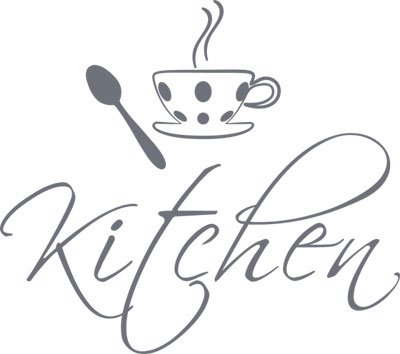 Design da Porta con Scritta in Inglese da Cucina Kitchen Grigio ...