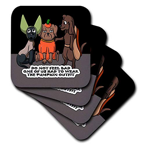 3dRose Sandy Mertens Halloween Designs - Dog Costume Cartoon, Funny Quote with Pumpkin Outfit, 3drsmm - set of 4 Coasters - Soft (cst_290229_1) ()