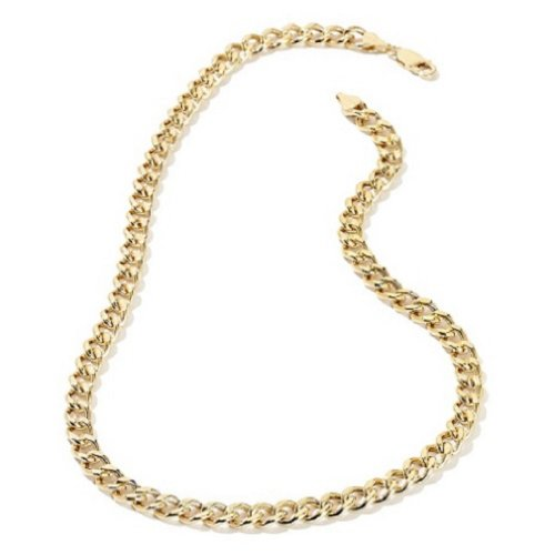 (Doublebeez Jewelry Men's Yellow Gold Tone Warrantied Cuban Curb Link Chain Necklace (6mm), 36