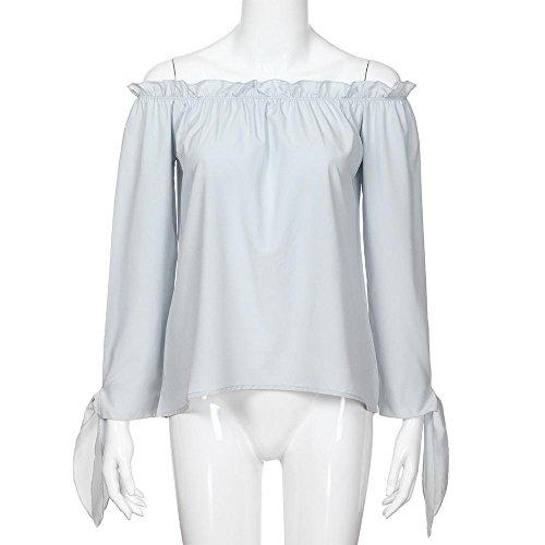 Froide Shirt Chemisier Manches paule Longues col Tunique T Gray Shirt Manches Chemise Femmes Longues Womens T vtBgq6qnxw