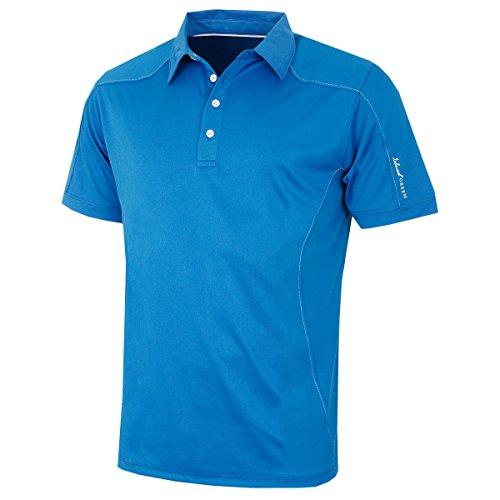 - Island Green Logo Sleeve Contrast Button Placket CoolPass Performance Mens Golf Polo Shirt Marine Large