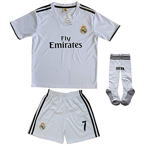 9f550f46e FCRM 2018/2019 Real Madrid #7 Ronaldo Kids Home Soccer Jersey & Shorts Youth