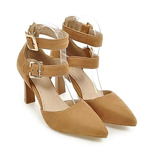 Fall Tacones Rojo Comfort Red de Basic Zapatos Verde ZHZNVX Mujer Chunky Suede Pump Amarillo Heel q8Ixpw