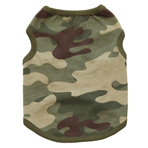 (Howstar Pet Shirts Summer Dog Cotton Vest Camouflage T Shirt Puppy Clothes Tank Tops Apparel Party Costume (M, Green))