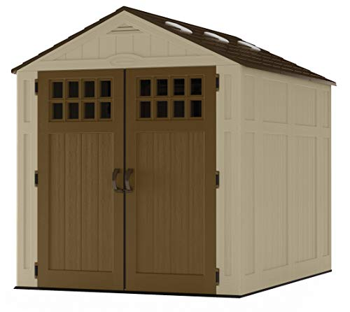 Suncast 6' x 8' Everett Vertical Storage Shed - Outdoor Storage for Backyard Tools and Accessories - All-Weather Resin Material, Transom Windows and Shingle Style Roof - Wood Grain Texture best to buy