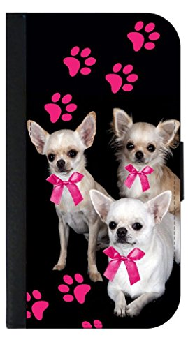 Wallet Prints Paw (Chihuahuas and Pink Pawprints Wallet Case for the Apple Iphone 6 PLUS ONLY-Black leather-Look Case with Flip Cover and Magnetic Closure)