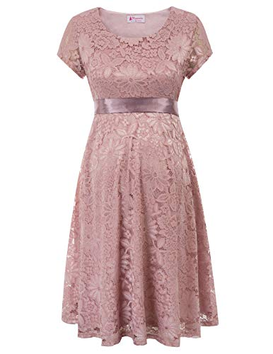 Women's Cap Sleeve A-line Baby Shower Floral Lace Maternity Dress Light Pink
