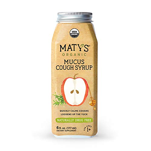 Matys Organic Mucus Cough Syrup, 6 Fluid Ounce, Organic Cough Remedy, Soothes Throats & Thins Mucus with Organic Honey, Ginger & Immune Boosting Ingredients, Helps Ease Common Cold Symptoms ()