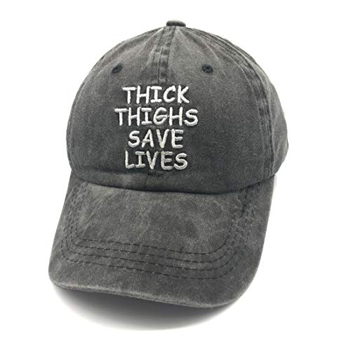 Waldeal Embroidered Thick Thighs Save Lives Vintage Demin Jeans Cotton Caps Funny Gym Save Hats Black