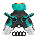 BITIWEND Hose Splitter Y Garden Hose Connector Garden Hose Splitter 2 Way Garden Faucet Splitter with Individual On/Off Valves Support 1Mpa Water Press (4 Washers Included)