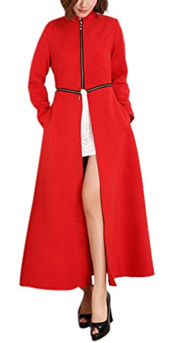 GESELLIE Women's Maxi Length Stand Collar Party Business Wool-Blend Trench Coat Red 2XL by GESELLIE