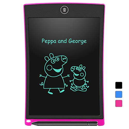 LCD Writing Tablet, Electronic Writing & Drawing Doodle Board, 8.5 inch Handwriting Paper Drawing Tablet for Kids & Adults, LCD Draft Pad with Smart Stylus for Home, School and Office, Pink
