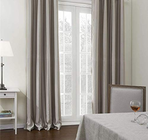 IYUEGO Verticall Stripe Room Darkening Thermal Rod Pocket Curtain Drapes with Multi Size Custom 100