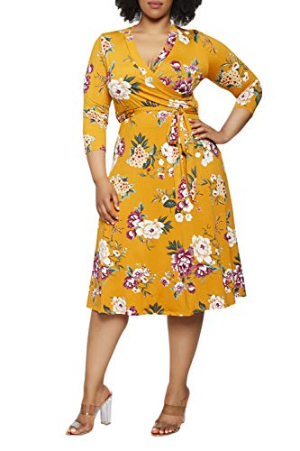 Pink Queen Womens Plus Size Dresses Casual Floral
