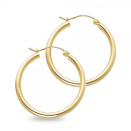 14k Yellow Gold Round Plain Hoop Earrings Classic French Lock Polished Design Women 25 x 2 mm (X Yellow 14k Design Gold)