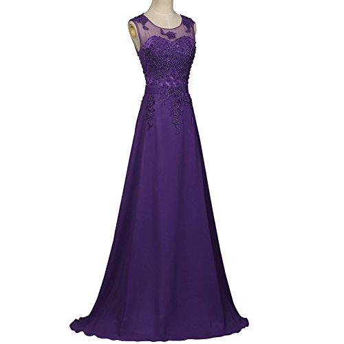 Aurora Femmes De Mariée Longue Robes De Soirée De Bal De Demoiselle D'honneur En Mousseline De Soie Pourpre Appliqué