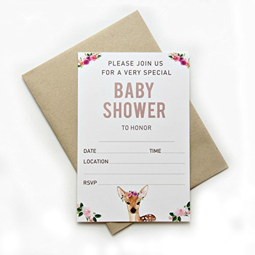 Invitations for Baby Shower Invitations with Envelopes Baby Shower Invitations x 25 Woodland Baby Shower Invitations for Baby Shower Girl Invites for Baby Shower Girl 4 x 6 Cards Fill in Invitations