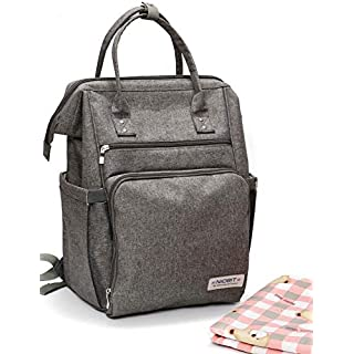Spring 2020 Diaper Bag Backpack, Changing Pad & Stroller Straps - Multi-function Travel Baby Bags, Large Capacity, Waterproof, Modern Grey