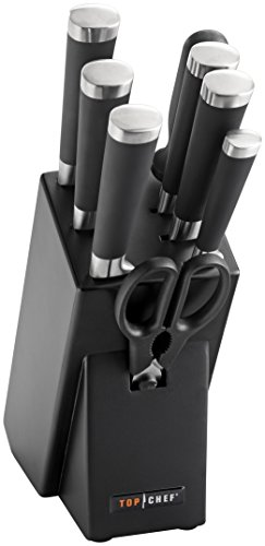 Top Chef 9 Piece Samurai Kitchen Knife Block Set, Black