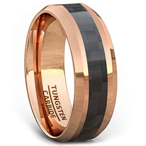 Duke Collections 8mm Rose Gold Tungsten Ring Black Carbon Fiber Surface Beveled Edges Comfort Fit (8)
