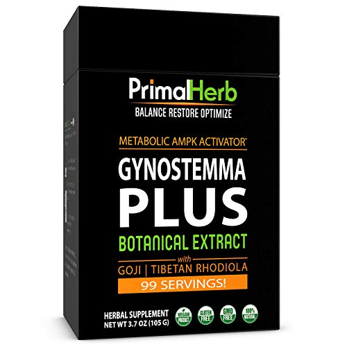 Gynostemma Plus Jiaogulan Extract Powder Potent AMPK Activator – with Tibetan Rhodiola Goji Berry Longevity Tonic – 99 Servings – Includes Bamboo Spoon