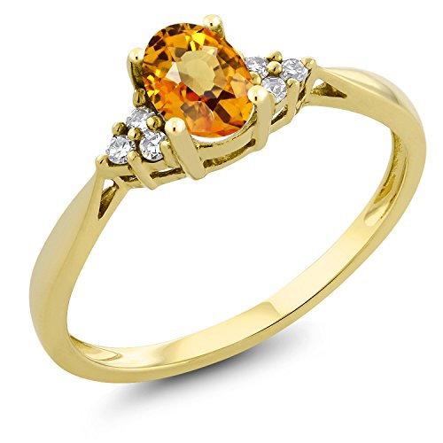 Gem Stone King Yellow Sapphire and Diamond 14K Yellow Gold Women's Ring 0.55 Ct Oval (Size 7) (Best Quality Yellow Sapphire Gemstone)