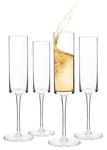 Champagne Flutes, Edge Champagne Glass Set of 4 - Modern & Elegant Gift for Women, Men, Wedding, Anniversary, Christmas, Birthday - 6oz, 100% Lead-Free Crystal