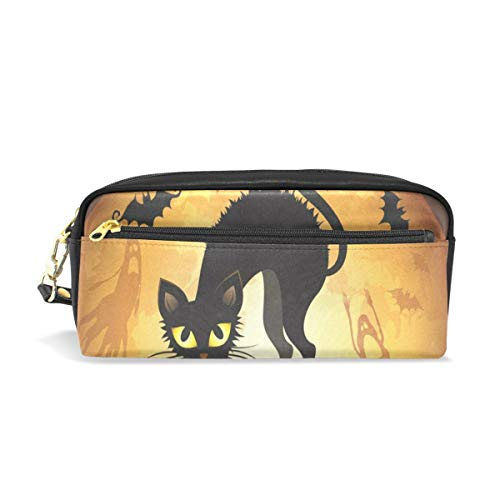 (Pencil Case/Makeup Bags Halloween with Black Cat Big Capacity Portable Pencil Bag for College)