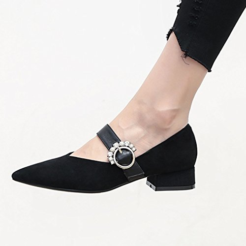 de Zapatos Carrera Zapatos GAOLIXIA Punta Mujer Jane de de Negro Estrecha Zapatos de de Rhinestone Zapatos Informal Perla Mujer Mary Zapatos Casuales Plana Hebilla Casuales Trabajo AaqdxB1qw