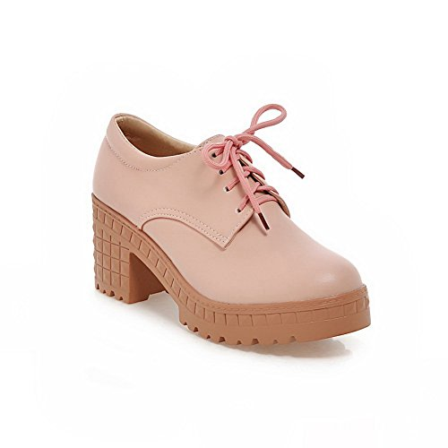 Balamasa Femmes Lacets Chunky Plate-forme Plate-forme Uréthane Chaussures-rose