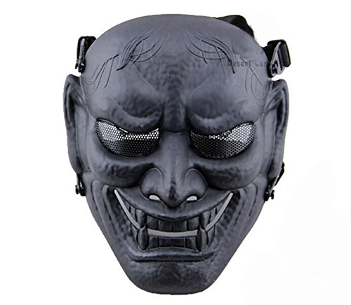 Phoenix Outdoor Japanese Samurai Metal Mesh Full Face Protective Airsoft Mask -Permance Goggle-Black-Halloween Mask