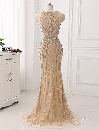 Erosebridal Formales Spitze Farbe Tulle mit Langes Abendkleid Kristall Gary Gelegenheit Shinning Partei Fq7OAxF