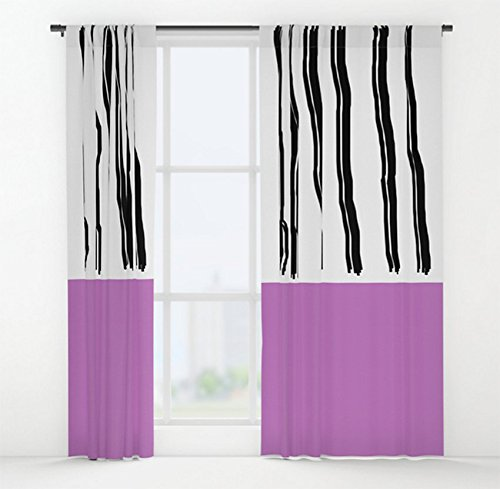 (Pink Color Block Window Curtain | Black & White Rod Pocket Curtain Panel | Drapery Panel | Custom Window Treatment | New Home)