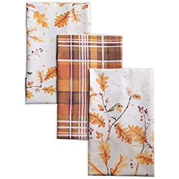 Maison d' Hermine Oak Leaves 100% Cotton Set of 3 Kitchen Towels 20 Inch by 27.5 Inch. Perfect for Thanksgiving and Christmas