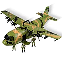 WolVol Giant C130 Bomber Military Combat Fighter Airforce Airplane Toy with Lights and Army Sounds for Kids, with Mini Soldiers
