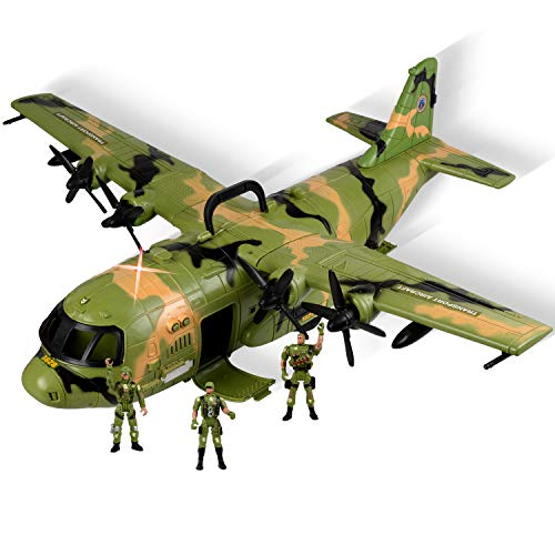WolVol Giant C130 Bomber Military Combat Fighter Airforce Airplane Toy with Lights and Army Sounds for Kids, with Mini Soldiers ()