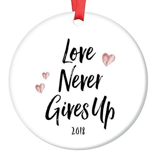 Believe Porcelain - 2018 Christmas Ornament Collectible Love Never Gives Up Ceramic Holiday Present Keep Faith Inspire Hope Believe in Reason for The Season Keepsake Gift 3