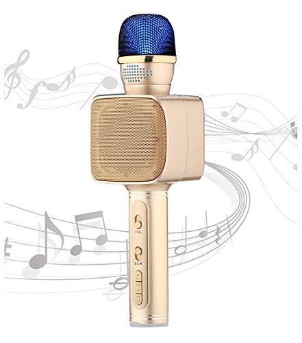 Wireless Cellphone Microphone YS-68 Professional Karaoke Machine copper finished 3 in 1 microphone USB/TF/Recording Karaoke microphone for iphone by SU.YOSD(Gold) by SU·YOSD