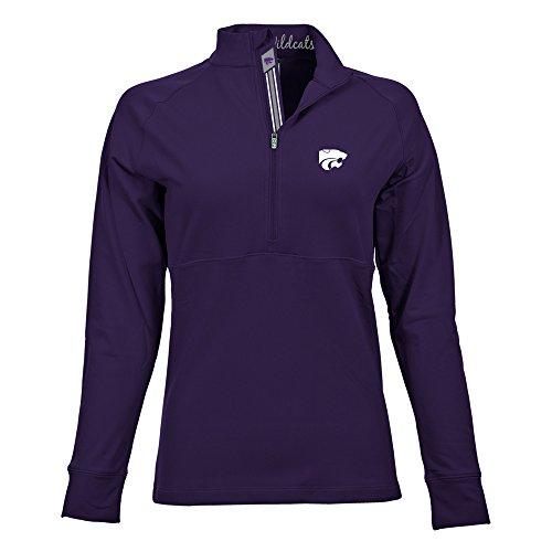 - Levelwear LEY9R NCAA Kansas State Wildcats Adult Women Harmony Banner Stripe Half Zip Mid-Layer, Medium, Purple