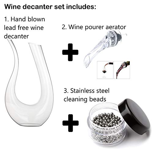 New Upgraded Wine decanter set, NO AIR BUBBLES Hand-Blown
