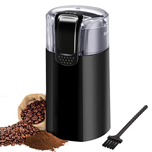 Coffee Grinder, TopElek Electric Blade Coffee Grinder and Spice Grinder with Multi-functional Stainless-Steel Blades, Removable Transparent Cover, Cord Storage, Brush, Portable Coffee Mill, Black