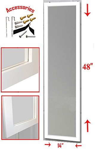 "Over the Door Mirror / Wall Mirror (14"" x 48"") – Full Length, White Wooden Furniture Frame (Hardware and Instructions Included) (Full Mirror Length White Wall)"