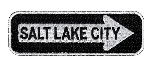 One Way Sign Salt Lake City Utah Embroidered Patch Iron-On Highway Road (Fabric Salt Lake City)