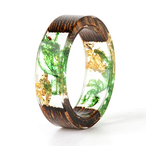 NDJEWELRY Unique Handmade Wood Resin Ring with Green Seaweed and Gold Foil Insided Gold Crystal Ring Best Gift for Her Size 11
